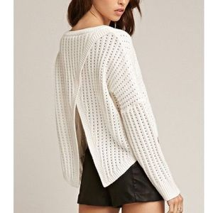 Tiger Mist Open Back Cropped Knit Sweater Cream